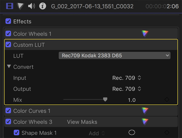 FCPX Effects LUT