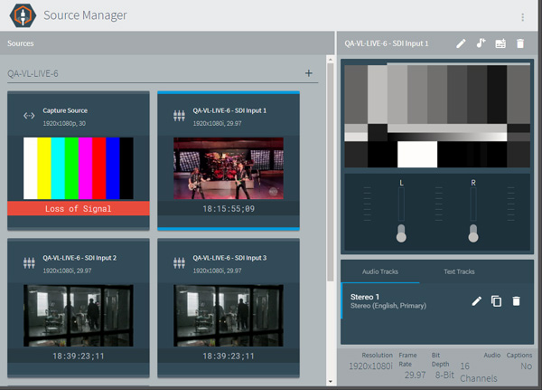 Telestream Lspeed Live source manager