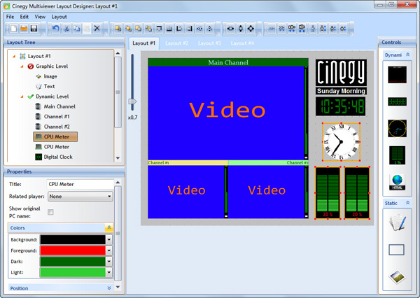 Cinegy Multiviewer 12 layout