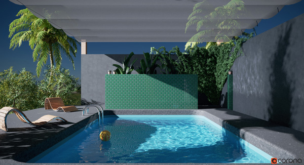 Corona renderer4 cinema 4d pool caustics