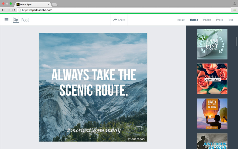 Adobe spark web post editor3